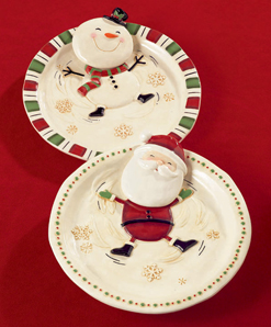 Santa Claus Or Snowman Snow Angels Dessert Plates