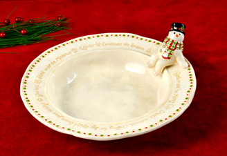 Sitting Snowman Candy Bowl