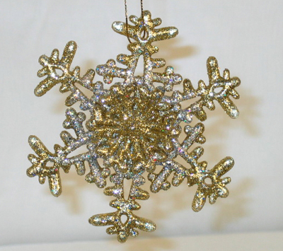 Snowflake Ornament, Christmas, Gold & Silver