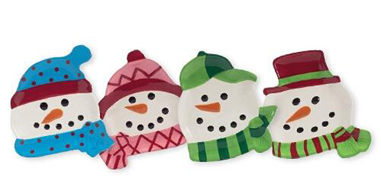 Snowman Appetizer Plates, Set Of 4