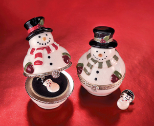 Trinket Box With Snowman Necklace Or Snowman Lapel Pin For Boys