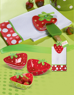 Strawberry Bowls, Appetizer/Tidbit, Set Of 3 Or Strawberry Towel & Spoon Rest Gift Set
