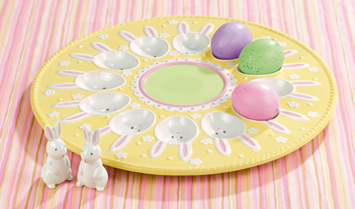 Sunshine Egg Plate With Bunny Salt & Pepper Shakers