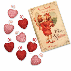 Sweetheart Glitter Ornaments In A Vintage Box, Bethany Lowe, Set Of 8