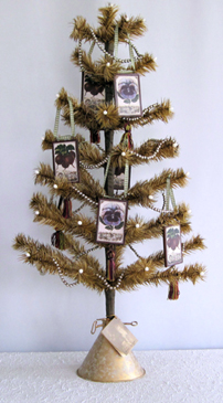All Season Tan Feather Tree With Ornaments, Bethany Lowe