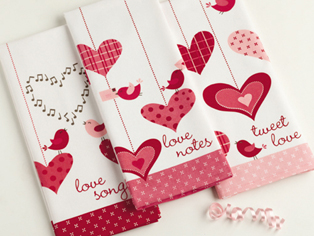 Valentine's Day Dishtowels, Set Of 3