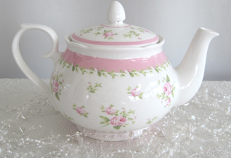 Victorian Pink Rose Teapot With Infuser