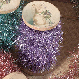 Wooden Spool Of Tinsel, Lavender, Bethany Lowe