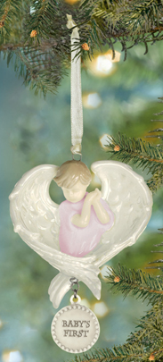 Baby's First Cherub Ornament, Pink