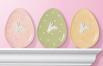 Hippity Hop Bunny Cookie Plates, Set of 3