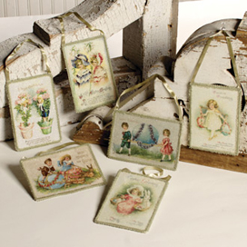 Children Postcard Ornaments, Set Of 6 (EA119)