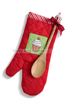 Christmas Cupcake Oven Mitt & Wooden Spoon Set
