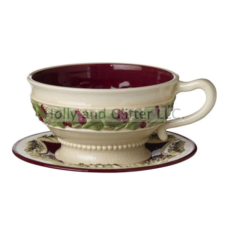 Christmas Holly & Berries Teacup & Saucer, Set Of 4