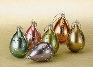 Easter Egg Ornaments, Glass, Set Of 6