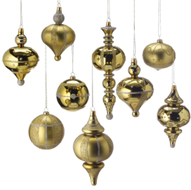 Flocked Gold & Silver Ornament Set, Shatterproof