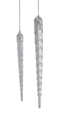 Glittered Icicle Ornaments, Christmas, Set of 2