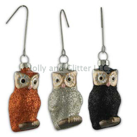 Halloween Glittered Owl Ornaments, Set Of 3, Bethany Lowe, Free Shipping!