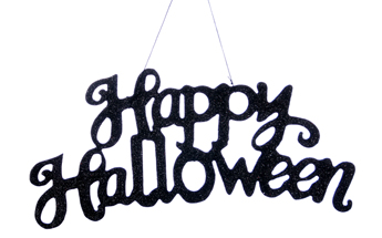 Happy Halloween Sign, Black