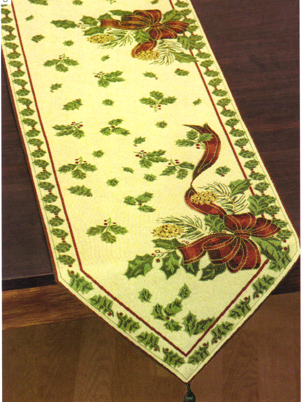 Holly & Ribbon Table Runner, Christmas