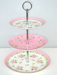 Victorian Pink Rose 3 Tier Cake Stands