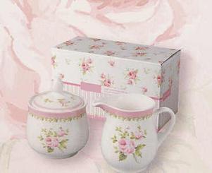 Victorian Pink Rose Sugar & Creamer, 2 Piece Set