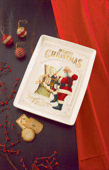 Vintage Santa Claus Cookie Tray With Stand
