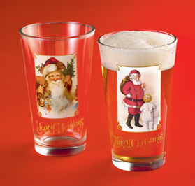 Vintage Santa Glasses, Set Of 4
