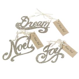 Silver Glitter Word Ornaments, Noel, Joy & Dream By Wendy Addison