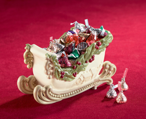 Christmas Holly Sleigh Candy Dish