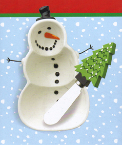 Snowman Dip Bowl & Christmas Tree Spreader Set