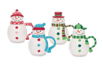 Snowman Mugs With Lids, Set of 4