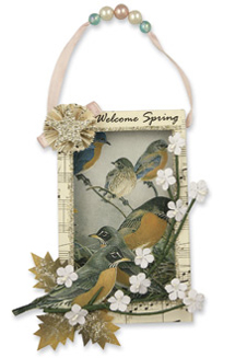 Songbird Shadow Box Ornament., Bethany Lowe (SE450)