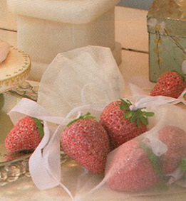 Strawberry Ornaments In Organza Bag, Nicol Sayre, Set of 8