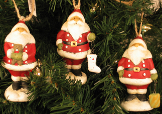 Traditional Santa Ornaments, Set of 3