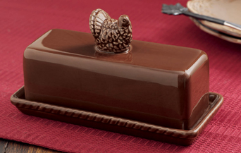 Turkey Butter Dish, Chocolate Color