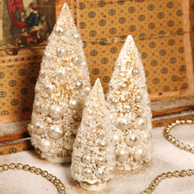 Winter Ivory Bottle Brush, Bethany Lowe, Set Of 3